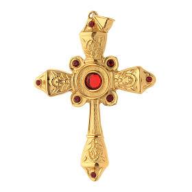 Croce vescovile argento 925 dorato cristalli Swarovski rossi s1