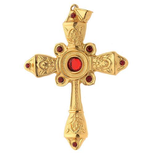 Croce vescovile argento 925 dorato cristalli Swarovski rossi 1