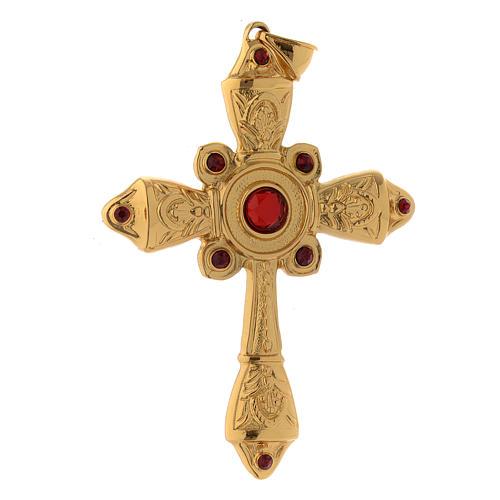 Croce vescovile argento 925 dorato cristalli Swarovski rossi 2