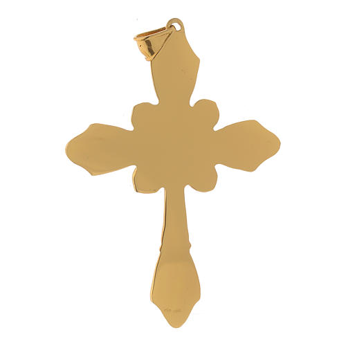 Croce vescovile argento 925 dorato cristalli Swarovski rossi 3