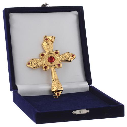 Croce vescovile argento 925 dorato cristalli Swarovski rossi 4