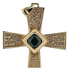 Pectoral cross in gold-plated sterling silver with malachite s2