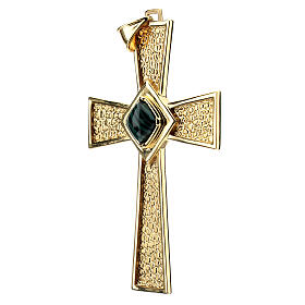 Pectoral cross in gold-plated sterling silver with malachite s3