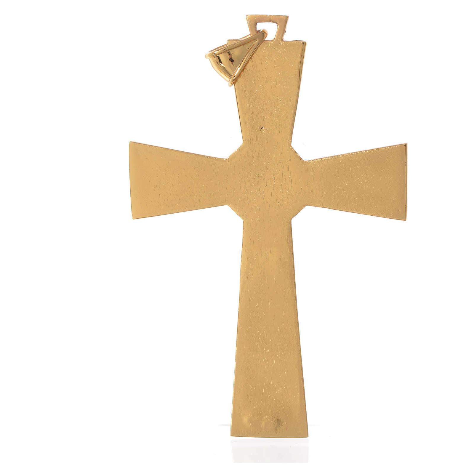 Cruz pectoral plata 925 dorada con malaquita 3