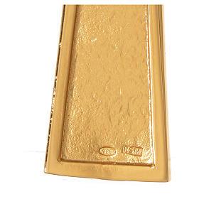 Cruz pectoral plata 925 dorada con malaquita s5
