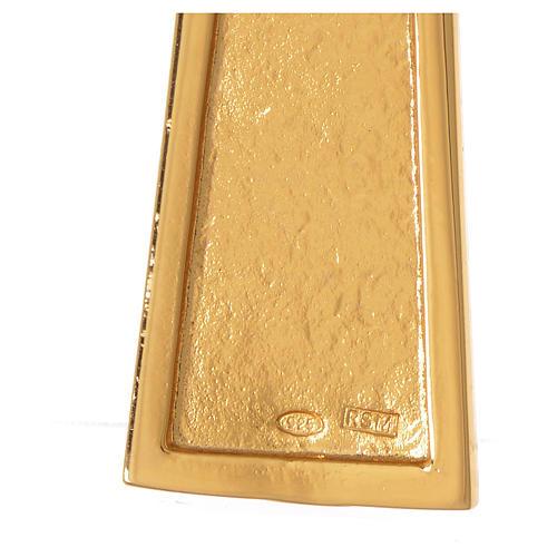 Cruz pectoral plata 925 dorada con malaquita 5