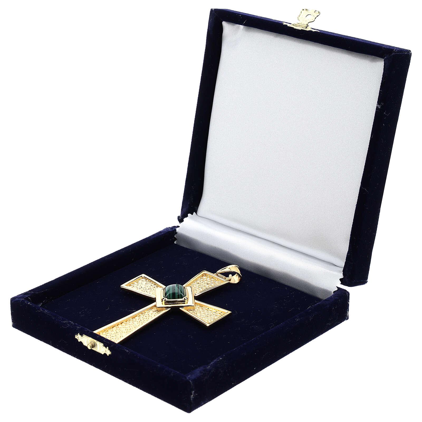 Croce per vescovi argento 925 dorato con malachite 3