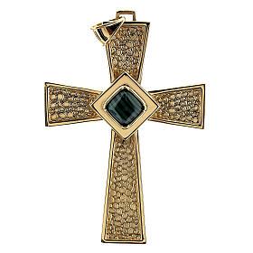 Croce per vescovi argento 925 dorato con malachite s1