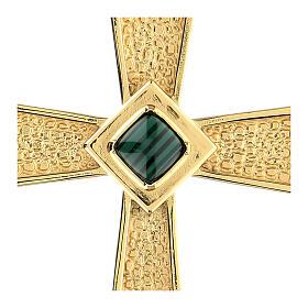 Croce per vescovi argento 925 dorato con malachite s2