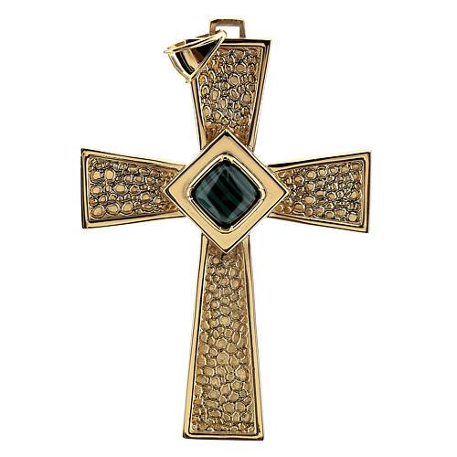 Croce per vescovi argento 925 dorato con malachite 1