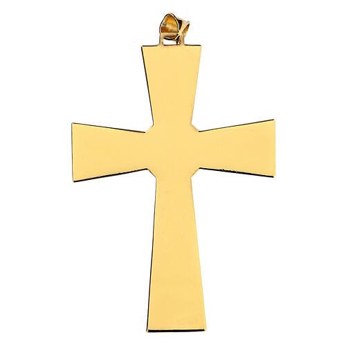 Croce per vescovi argento 925 dorato con malachite 4