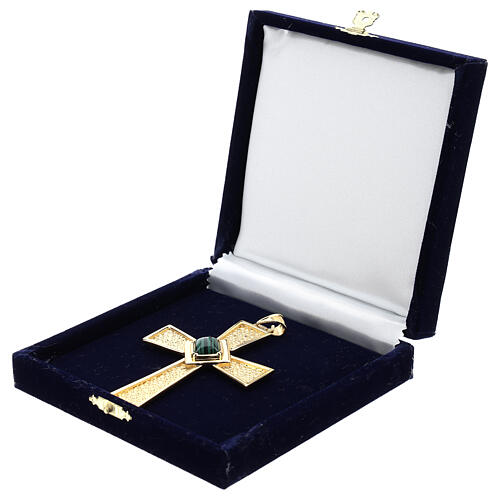 Croce per vescovi argento 925 dorato con malachite 5