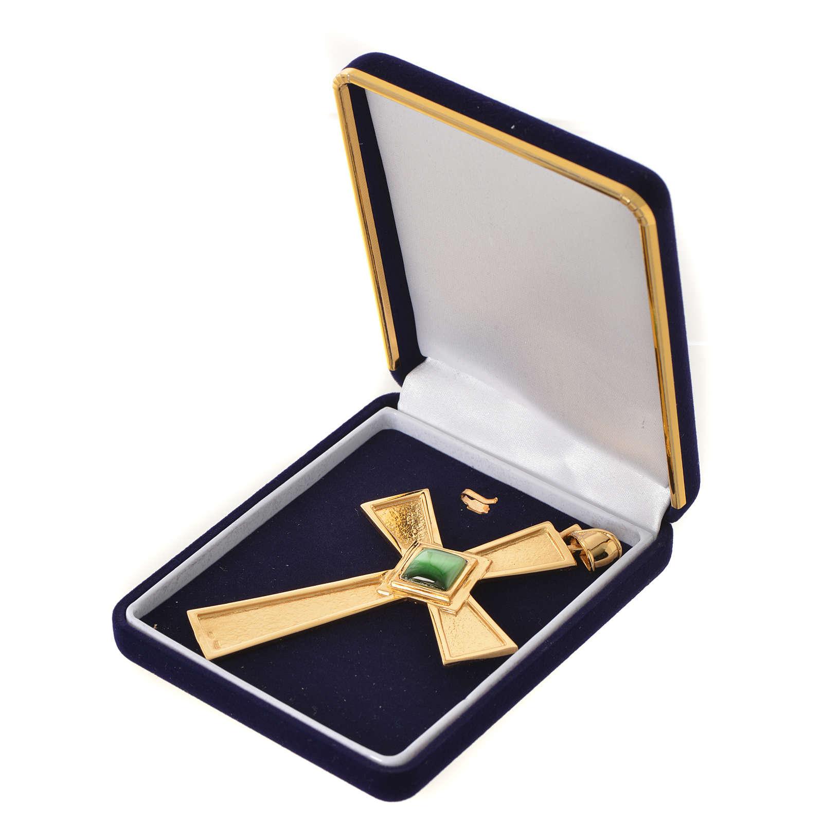 Cruz para bispo prata 925 dourada com malaquita 3