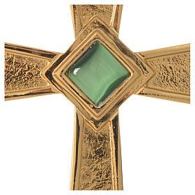 Cruz para bispo prata 925 dourada com malaquita s2