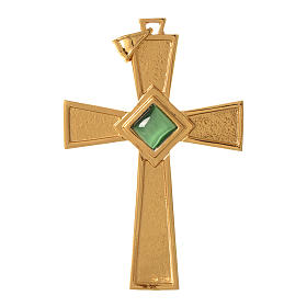 Pectoral cross in gold-plated sterling silver with malachite s1