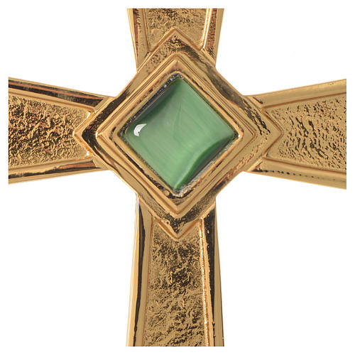Pectoral cross in gold-plated sterling silver with malachite 2