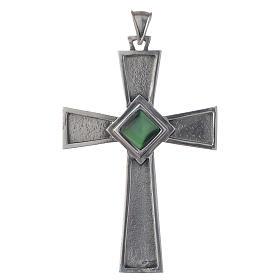 Cruz pectoral plata 925 con malaquita s1