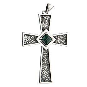 Cruz pectoral plata 925 con malaquita s2