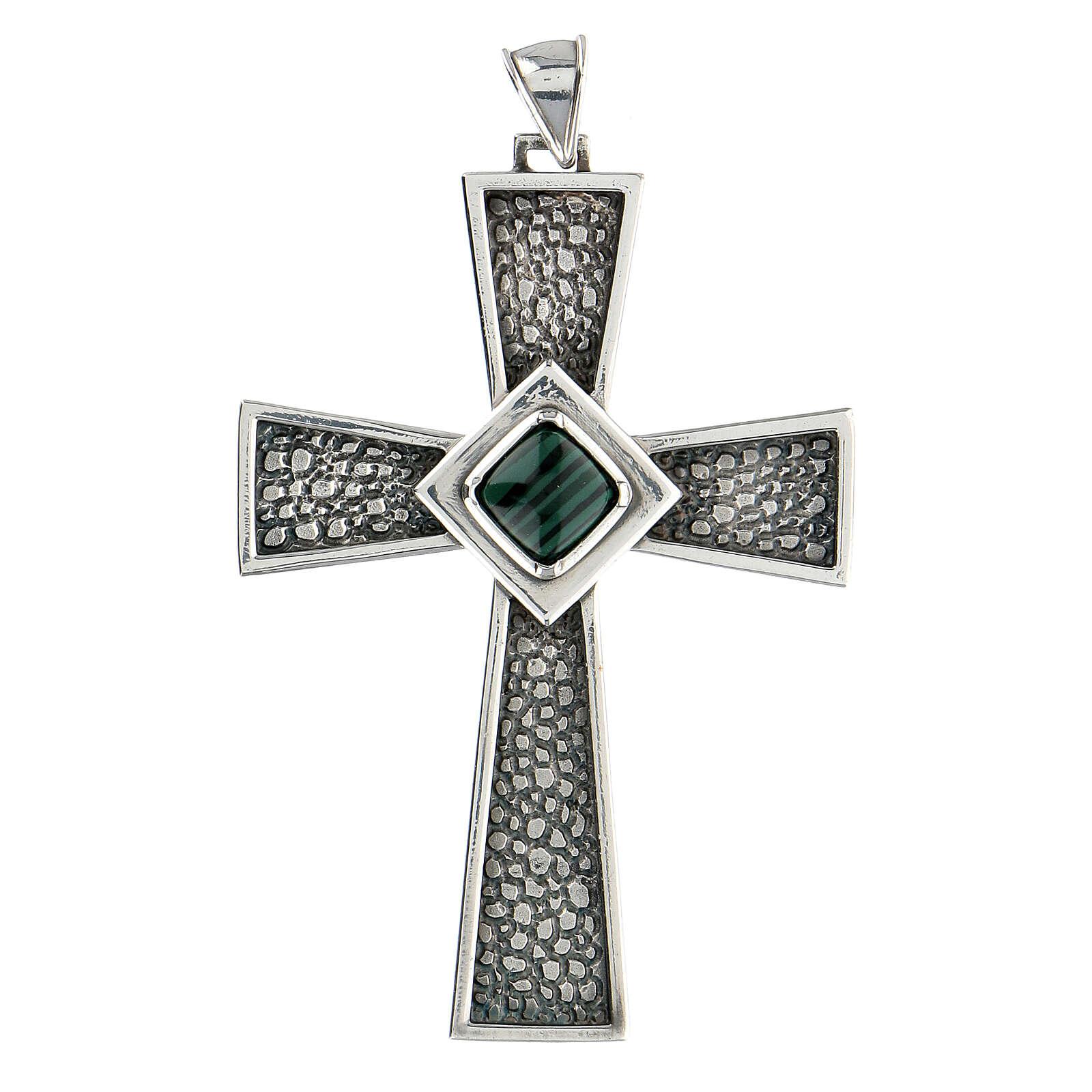 Croix pectorale argent 925 avec malachite 3
