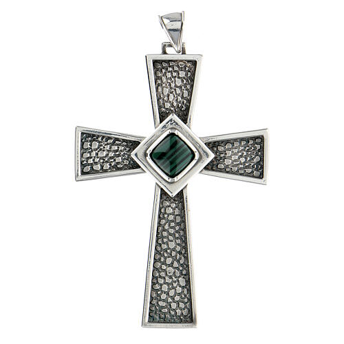 Croix pectorale argent 925 avec malachite 1