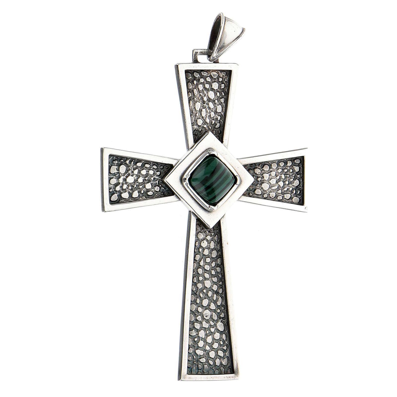 Croce per vescovi argento 925 con malachite 3