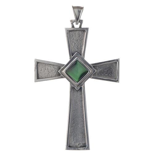 Croce per vescovi argento 925 con malachite 1