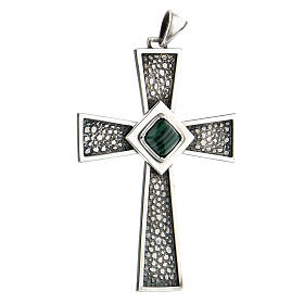 Pectoral cross in sterling silver with malachite s2