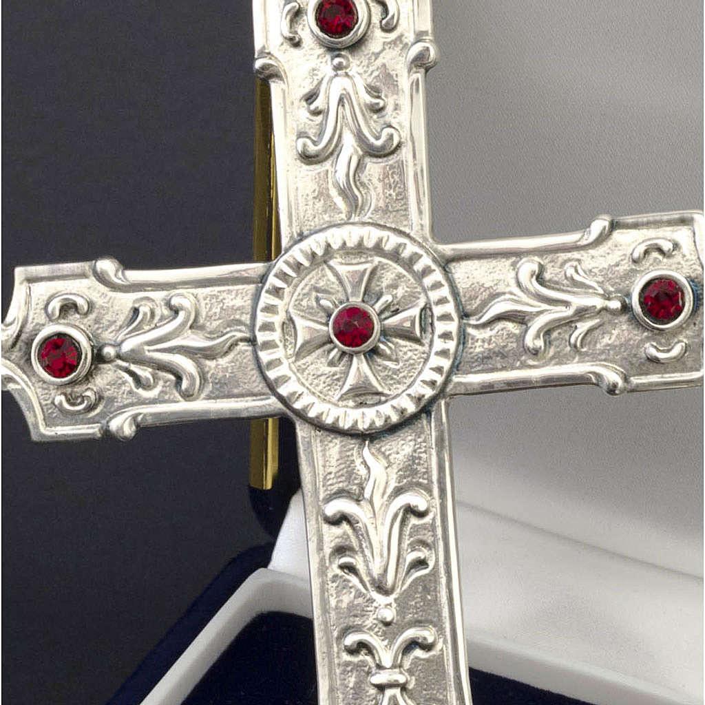 Croix pour évêque argent 925 et pierres synthétiques rouges 3
