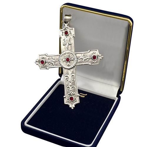Croix pour évêque argent 925 et pierres synthétiques rouges 1