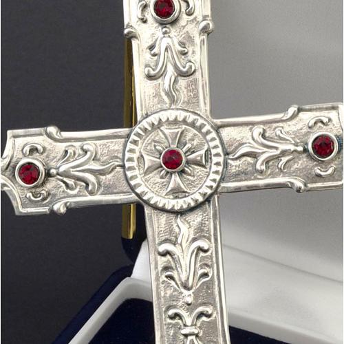 Croix pour évêque argent 925 et pierres synthétiques rouges 2