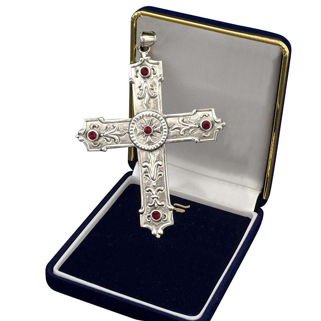 Croce per vescovi argento 925 pietre sintetiche rosse 3