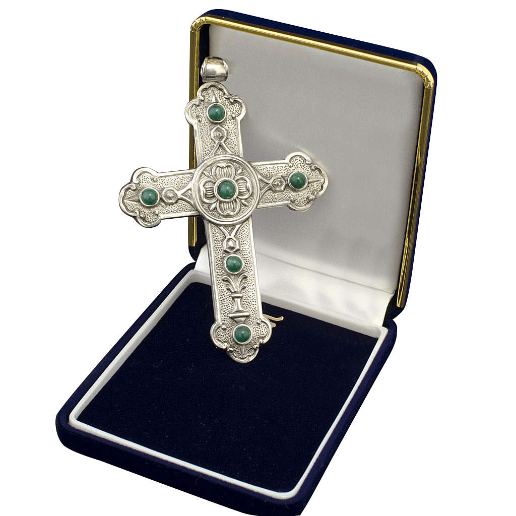 Croce pettorale vescovile argento 925 pietre sintetiche verdi 3