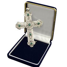 Croce pettorale vescovile argento 925 pietre sintetiche verdi s1