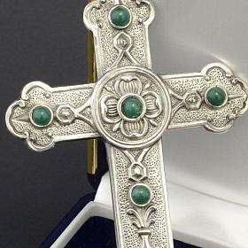 Croce pettorale vescovile argento 925 pietre sintetiche verdi s2