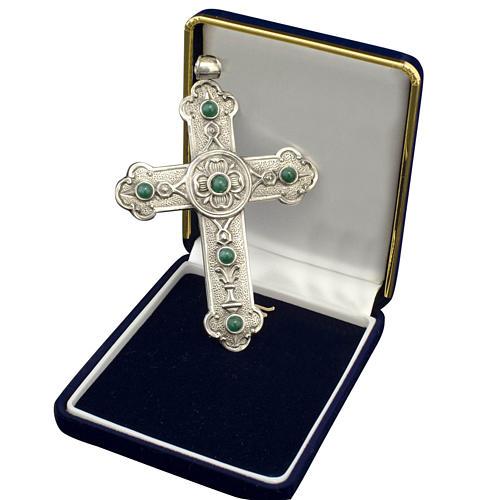 Croce pettorale vescovile argento 925 pietre sintetiche verdi 1