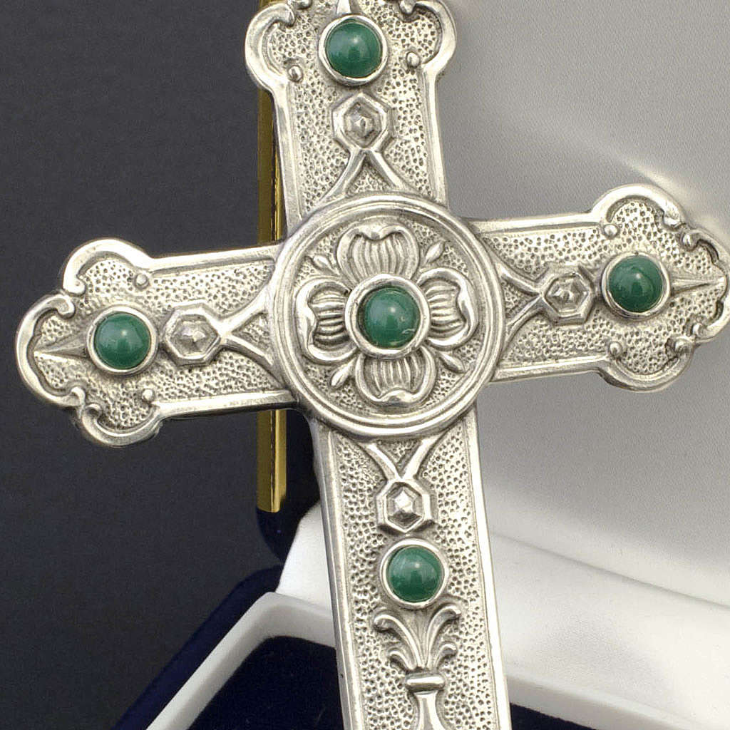 Pectoral cross in sterling silver, green synthetic stones 3