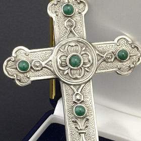 Pectoral cross in sterling silver, green synthetic stones s2