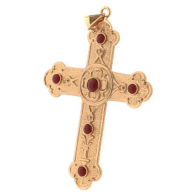 Pectoral cross in gold-plated sterling silver with synthetic stones s3