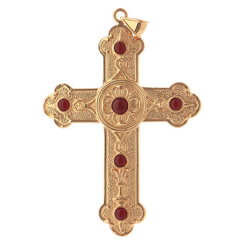 Pectoral cross in gold-plated sterling silver with synthetic stones 1