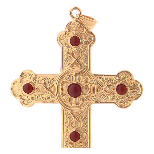 Pectoral cross in gold-plated sterling silver with synthetic stones 2