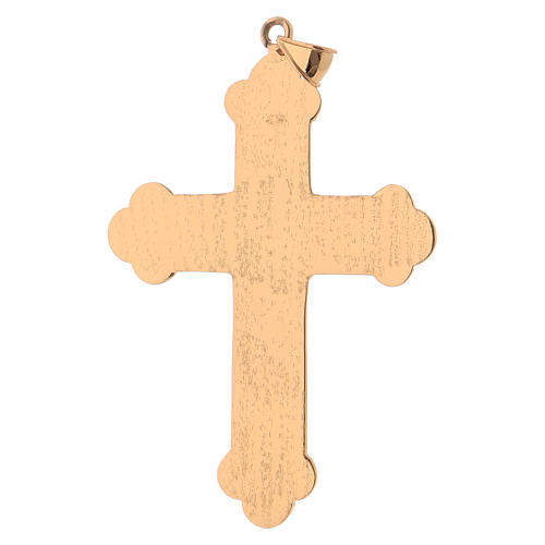 Pectoral cross in gold-plated sterling silver with synthetic stones 4