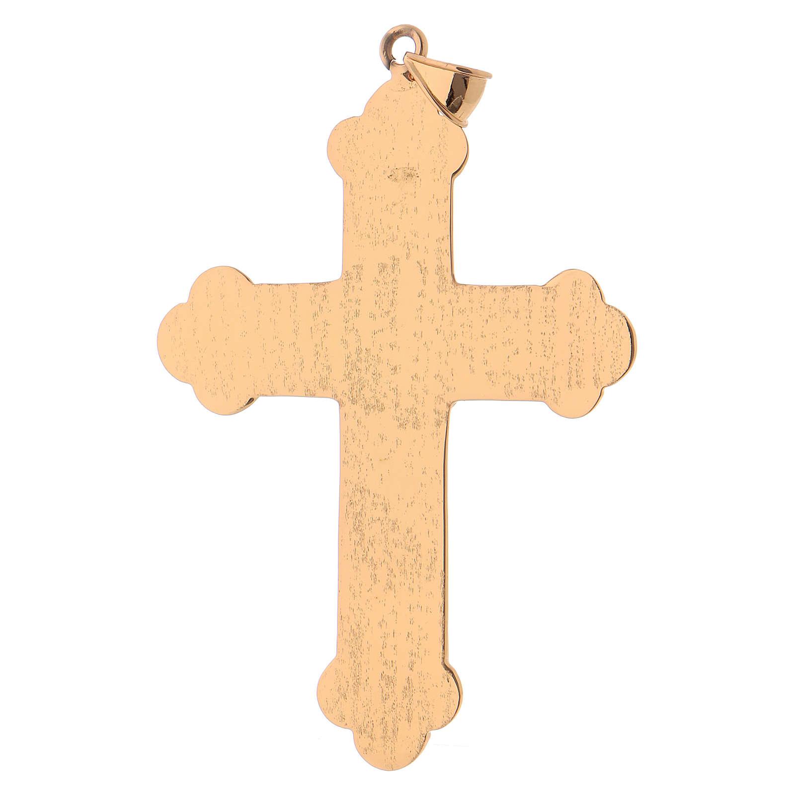 Croix pectorale argent pierres rouges 3