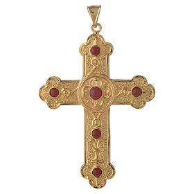 Croce pettorale vescovile argento 925 dorato pietre sintetiche s1