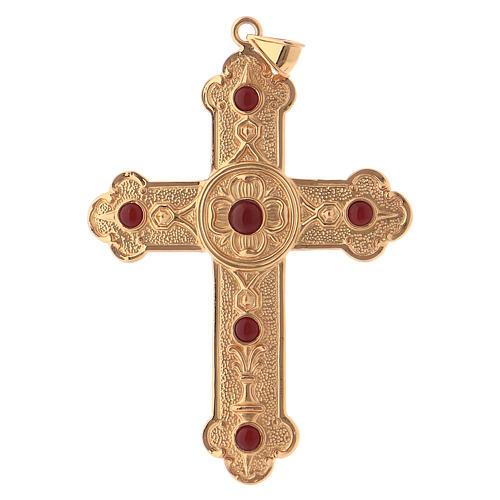 Croce pettorale vescovile argento 925 dorato pietre sintetiche 1