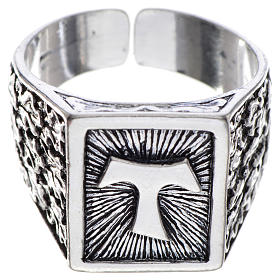Bishop's ring, burnished 800 silver with Tau cross s1