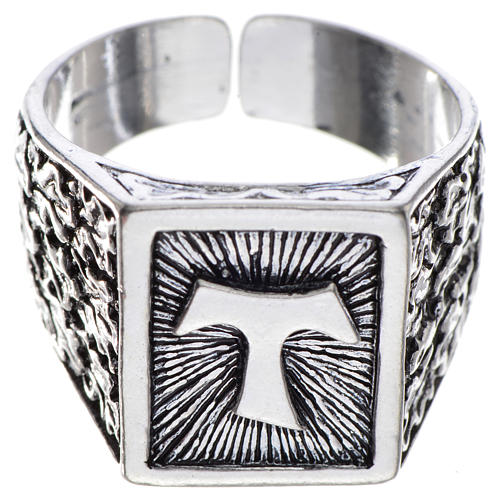 Bishop's ring, burnished 800 silver with Tau cross 1