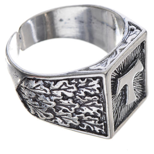 Bishop's ring, burnished 800 silver with Tau cross 2