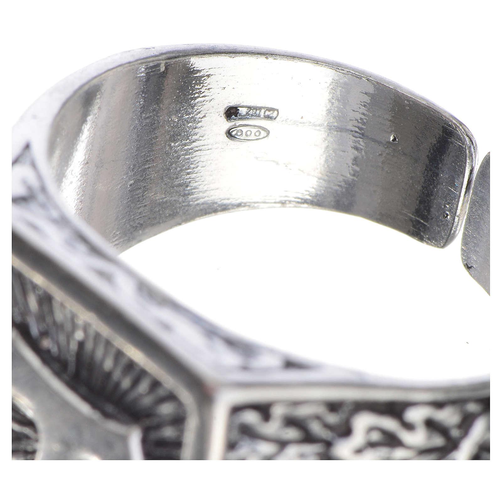 Anillo episcopal en plata 800 bruñida con tau 3