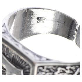 Anillo episcopal en plata 800 bruñida con tau s4