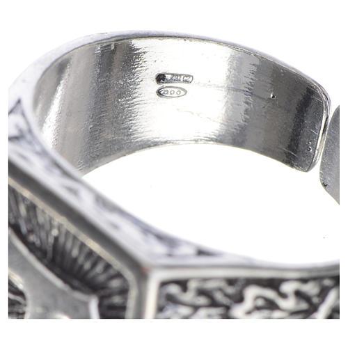 Anillo episcopal en plata 800 bruñida con tau 4